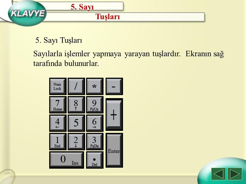 5. Sayı Tuşları 5. Sayı Tuşları Sayılarla işlemler yapmaya yarayan tuşlardır. Ekranın sağ tarafında bulunurlar.
