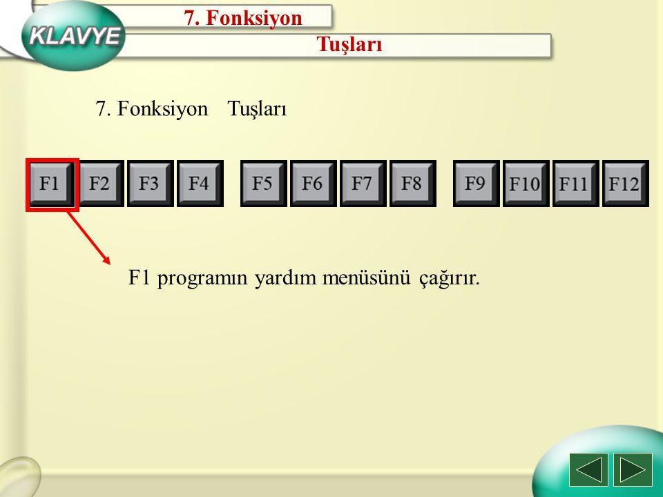 7. Fonksiyon Tuşları 7. Fonksiyon Tuşları F1 programın yardım menüsünü çağırır.