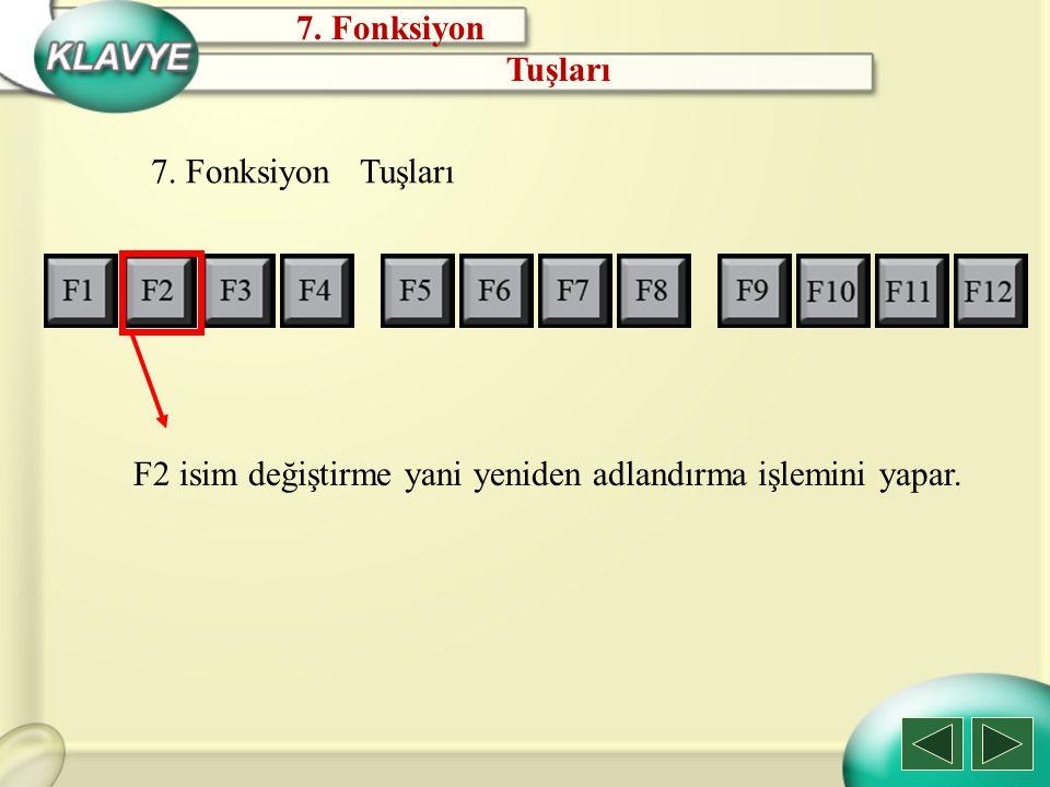 7. Fonksiyon Tuşları 7. Fonksiyon Tuşları F2 isim değiştirme yani yeniden adlandırma işlemini yapar.