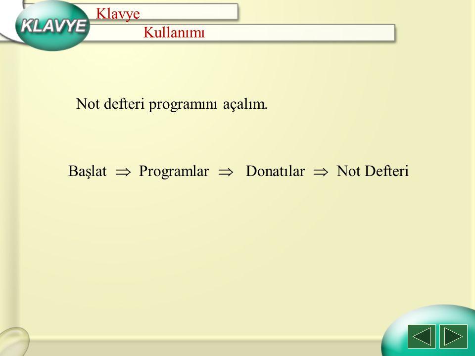 Not defteri programını açalım. Klavye Kullanımı Başlat  Programlar  Donatılar  Not Defteri