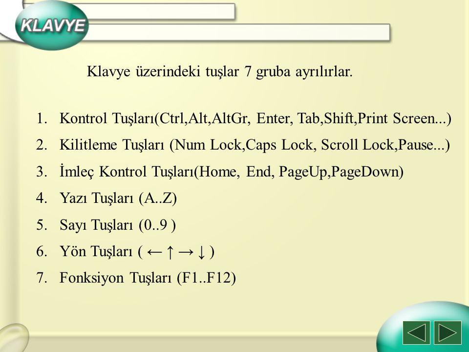 1.Kontrol Tuşları a)Enter b) Ctrlc) Altd) Alt Gre) Esc f) Tabg) Shifth) Print Screen l) Windows i) Backspace j) Deletek)Insert Klavyedeki Tuşlar m) Kısayol