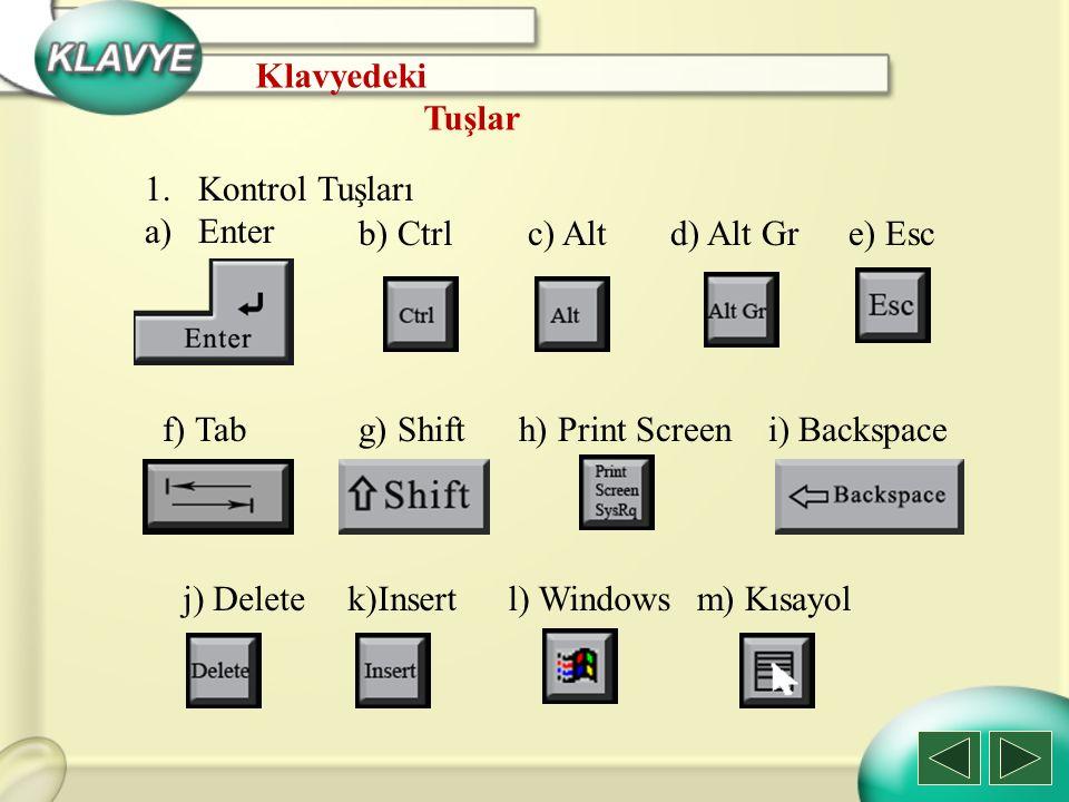 1.Kontrol Tuşları a)Enter b) Ctrlc) Altd) Alt Gre) Esc f) Tabg) Shifth) Print Screen l) Windows i) Backspace j) Deletek)Insert Klavyedeki Tuşlar m) Kı