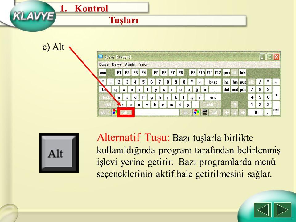 d) Page Down Page Down Tuşu: İmleci bulunduğu yerden bir ekran boyu aşağı taşır.