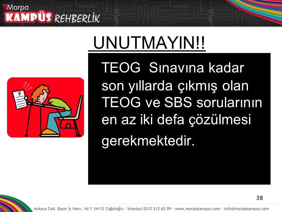 UNUTMAYIN!! TEOG Sınavına kadar son yıllarda çıkmış olan TEOG ve SBS sorularının en az iki defa çözülmesi gerekmektedir. 38