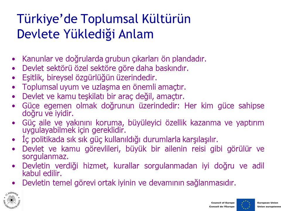 Türkiye'de Toplumsal Kültürün Devlete Yüklediği Anlam Kanunlar ve doğrularda grubun çıkarları ön plandadır.