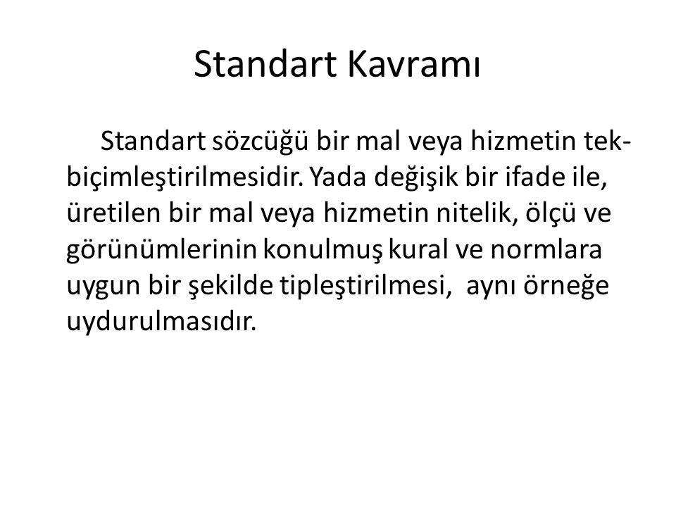 Standart Kavramı Standart sözcüğü bir mal veya hizmetin tek- biçimleştirilmesidir.
