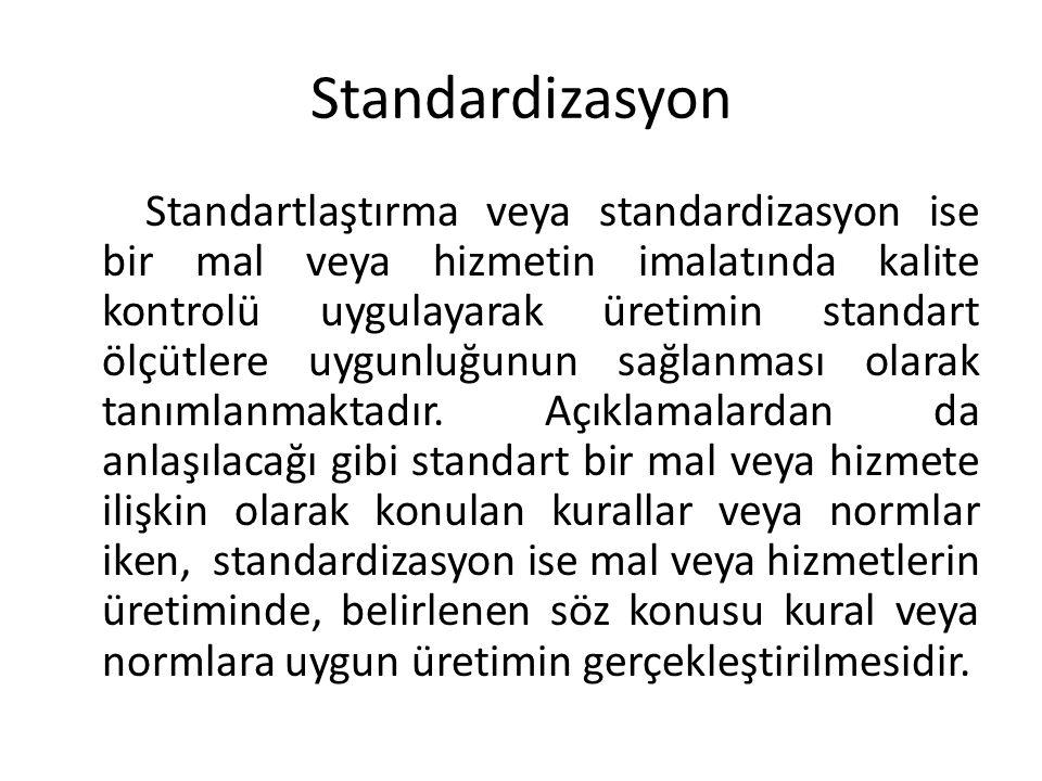 Standardizasyon Standartlaştırma veya standardizasyon ise bir mal veya hizmetin imalatında kalite kontrolü uygulayarak üretimin standart ölçütlere uygunluğunun sağlanması olarak tanımlanmaktadır.