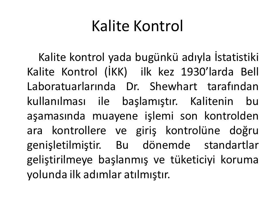 Kalite Kontrol Kalite kontrol yada bugünkü adıyla İstatistiki Kalite Kontrol (İKK) ilk kez 1930'larda Bell Laboratuarlarında Dr.