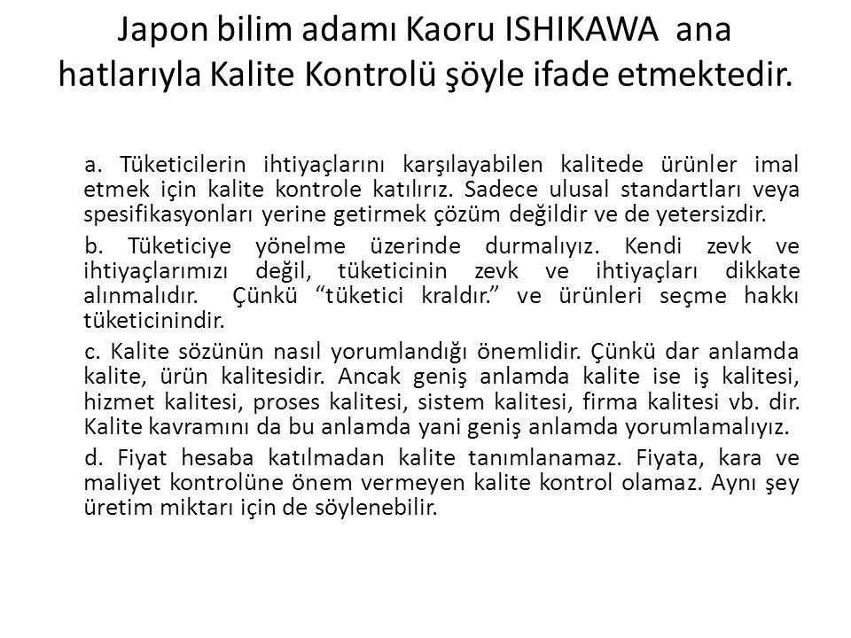 Japon bilim adamı Kaoru ISHIKAWA ana hatlarıyla Kalite Kontrolü şöyle ifade etmektedir.