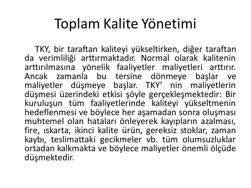Toplam Kalite Yönetimi TKY, bir taraftan kaliteyi yükseltirken, diğer taraftan da verimliliği arttırmaktadır.