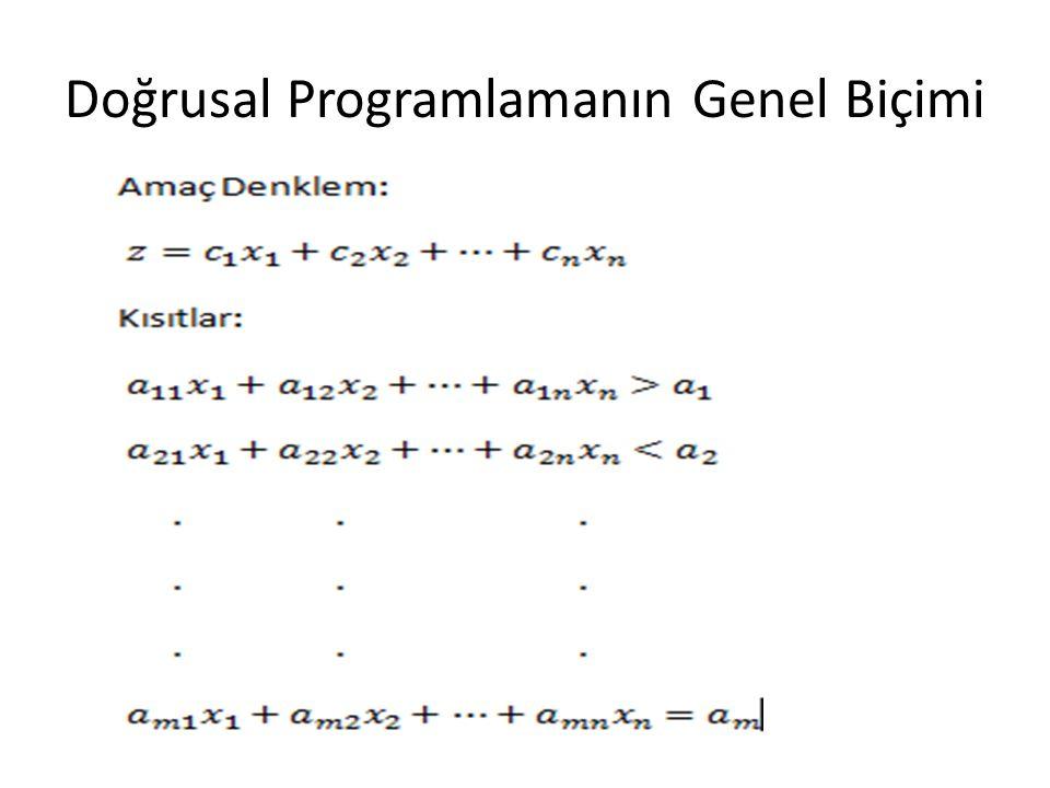 Doğrusal Programlamanın Genel Biçimi