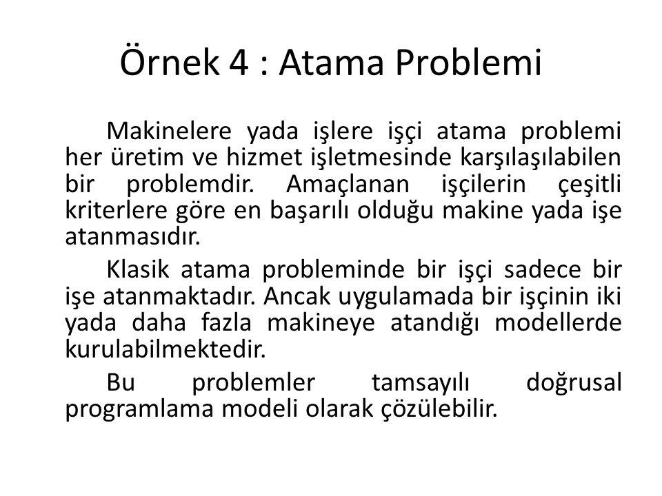 Örnek 4 : Atama Problemi Makinelere yada işlere işçi atama problemi her üretim ve hizmet işletmesinde karşılaşılabilen bir problemdir.