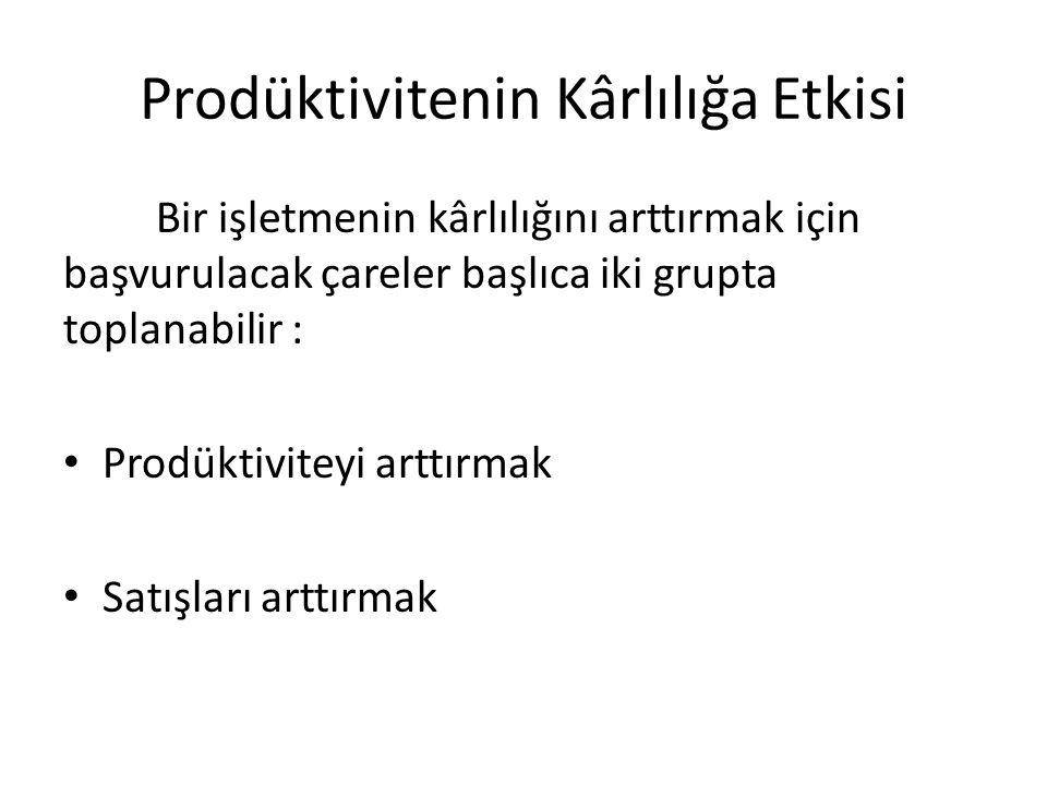 Prodüktivitenin Kârlılığa Etkisi Bir işletmenin kârlılığını arttırmak için başvurulacak çareler başlıca iki grupta toplanabilir : Prodüktiviteyi arttırmak Satışları arttırmak