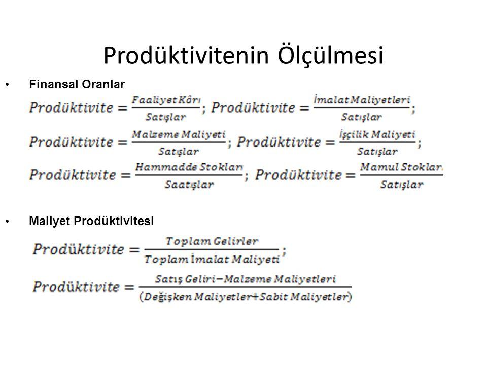 Prodüktivitenin Ölçülmesi Finansal Oranlar Maliyet Prodüktivitesi
