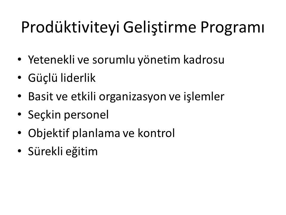Prodüktiviteyi Geliştirme Programı Yetenekli ve sorumlu yönetim kadrosu Güçlü liderlik Basit ve etkili organizasyon ve işlemler Seçkin personel Objektif planlama ve kontrol Sürekli eğitim