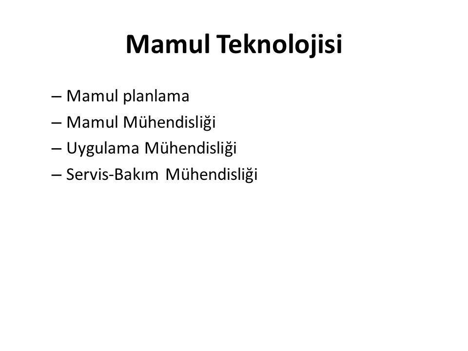 Mamul Teknolojisi – Mamul planlama – Mamul Mühendisliği – Uygulama Mühendisliği – Servis-Bakım Mühendisliği
