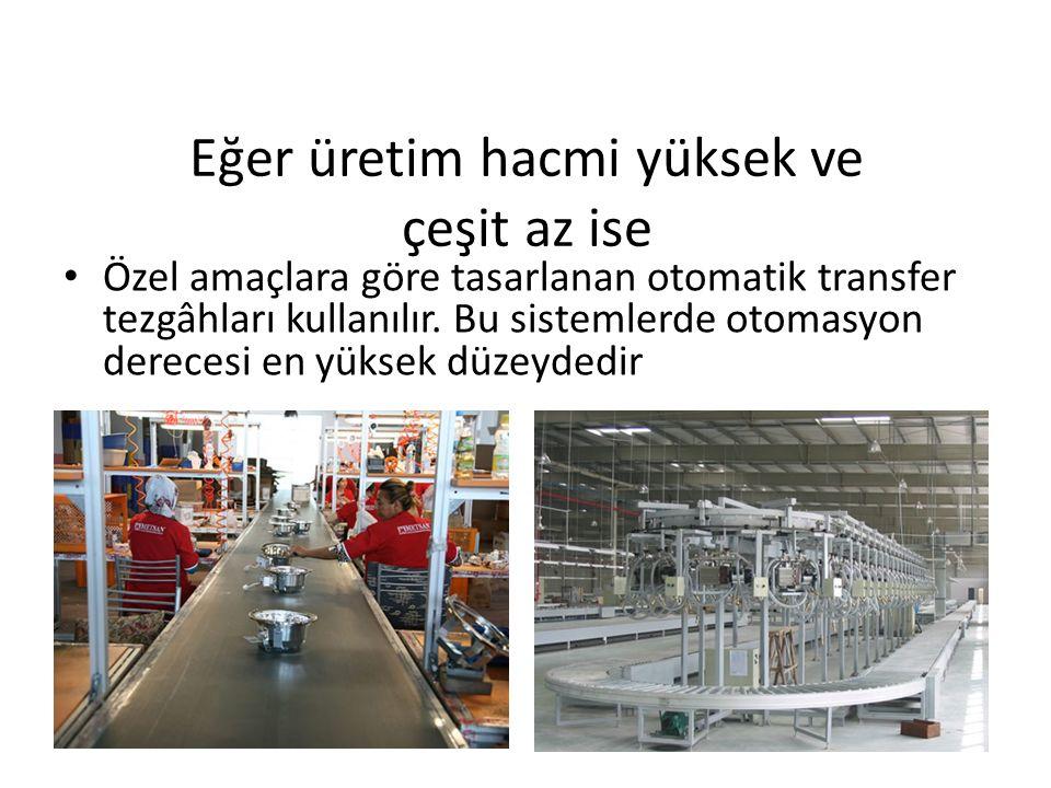Eğer üretim hacmi yüksek ve çeşit az ise Özel amaçlara göre tasarlanan otomatik transfer tezgâhları kullanılır.