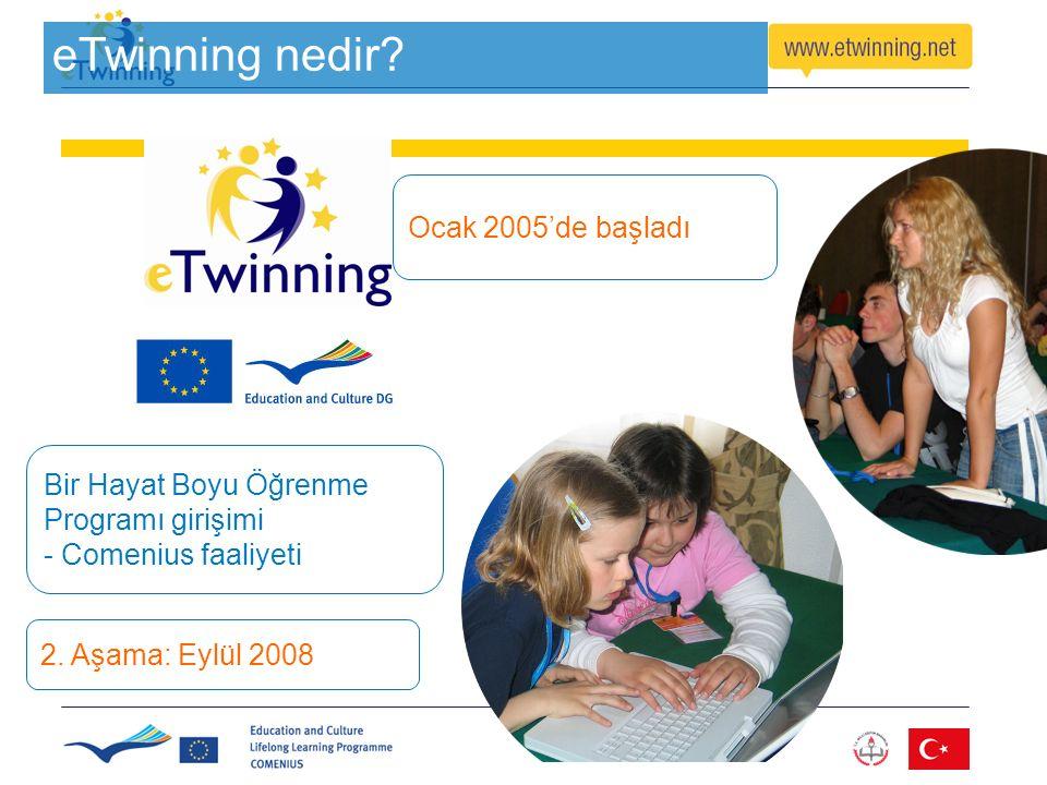 eTwinning nedir? Bir Hayat Boyu Öğrenme Programı girişimi - Comenius faaliyeti Ocak 2005'de başladı 2. Aşama: Eylül 2008