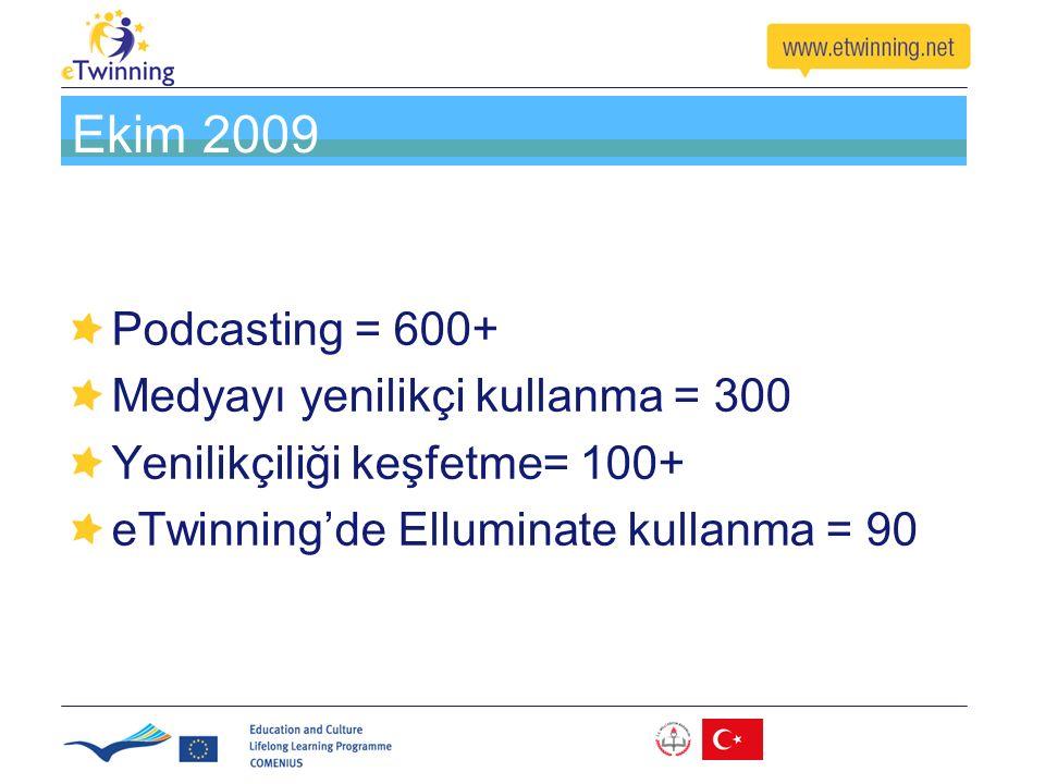 Ekim 2009 Podcasting = 600+ Medyayı yenilikçi kullanma = 300 Yenilikçiliği keşfetme= 100+ eTwinning'de Elluminate kullanma = 90