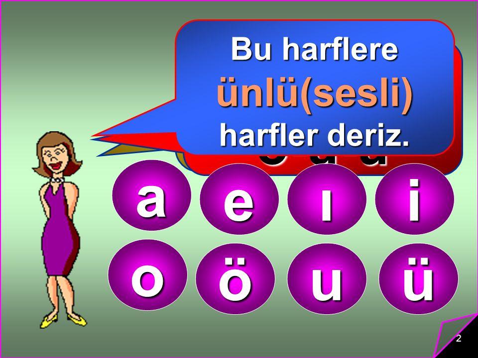 2 Alfabemizdeki harflerin bazılarını tek başına ve kolayca söyleyebiliriz. Örneğin:…… a-e-ı-i-o- ö-u-ü a eıi o öuü Bu harflere ünlü(sesli) harfler der
