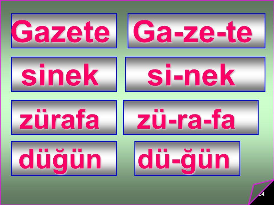 24 GazeteGa-ze-te sineksi-nek zürafazü-ra-fa düğündü-ğün