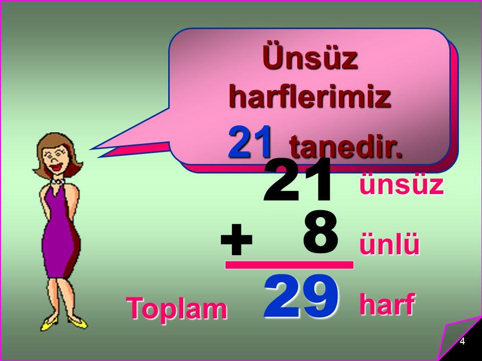 4 Ünlü harflerimiz 8 tanedir. 8 tanedir. Ünsüz harflerimiz 21 tanedir. 21 tanedir. 21 8 + 29 ünsüz ünlü Toplam harf