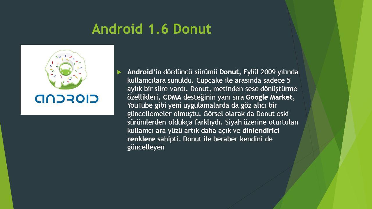 Android 1.6 Donut  Android'in dördüncü sürümü Donut, Eylül 2009 yılında kullanıcılara sunuldu.