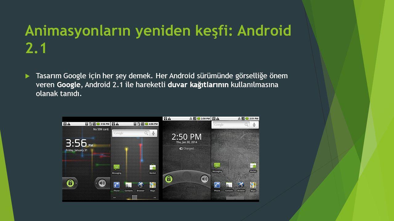 Animasyonların yeniden keşfi: Android 2.1  Tasarım Google için her şey demek.