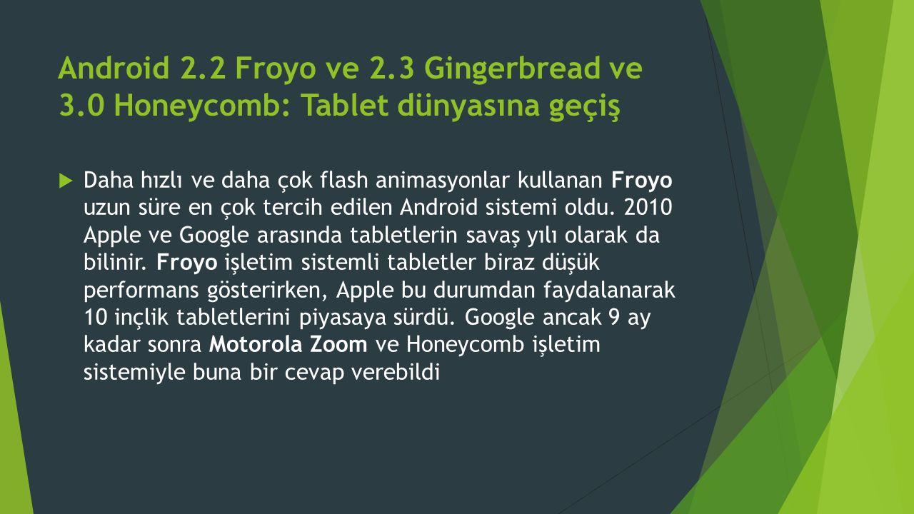 Android 2.2 Froyo ve 2.3 Gingerbread ve 3.0 Honeycomb: Tablet dünyasına geçiş  Daha hızlı ve daha çok flash animasyonlar kullanan Froyo uzun süre en çok tercih edilen Android sistemi oldu.