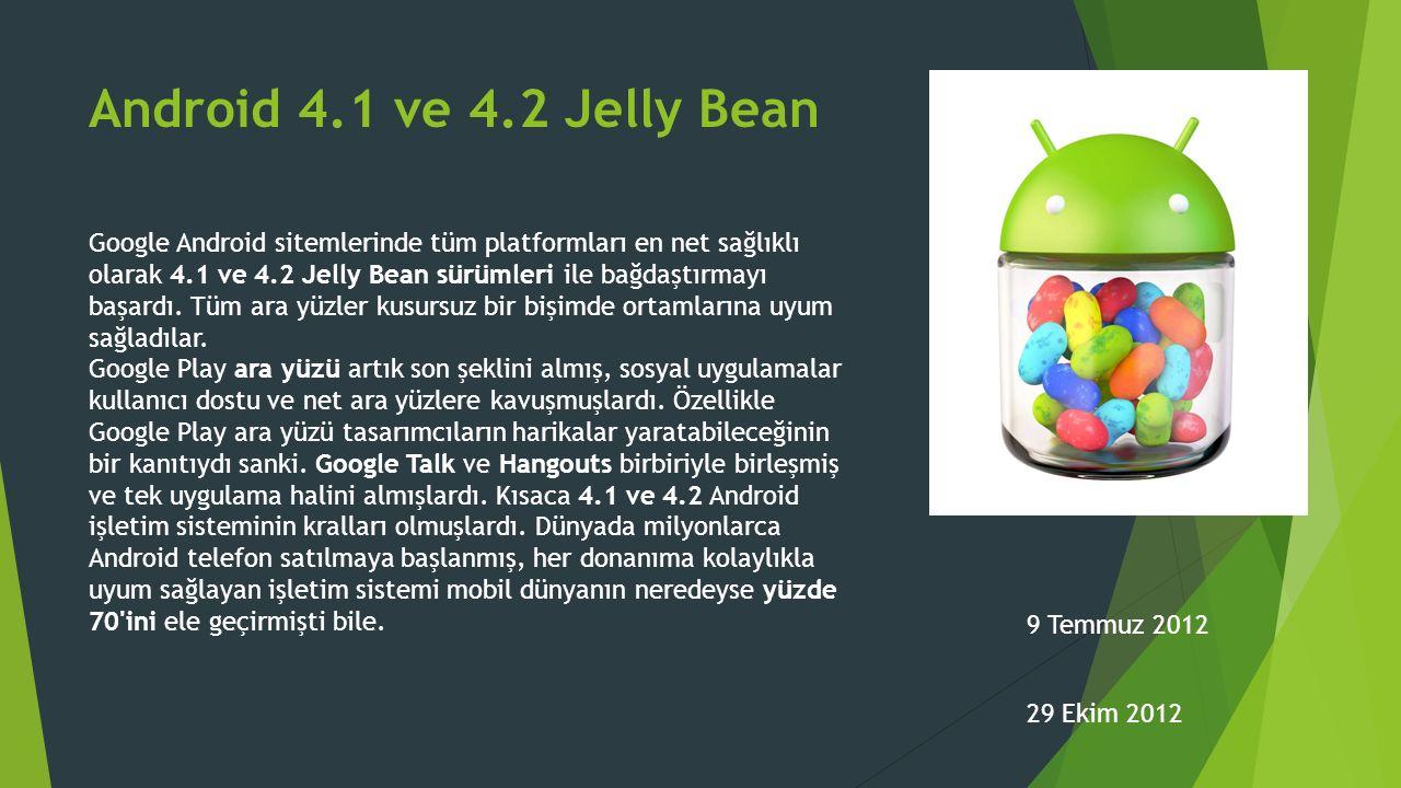 Android 4.1 ve 4.2 Jelly Bean Google Android sitemlerinde tüm platformları en net sağlıklı olarak 4.1 ve 4.2 Jelly Bean sürümleri ile bağdaştırmayı başardı.