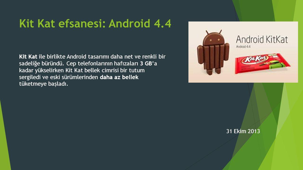 Kit Kat efsanesi: Android 4.4 Kit Kat ile birlikte Android tasarımı daha net ve renkli bir sadeliğe büründü.