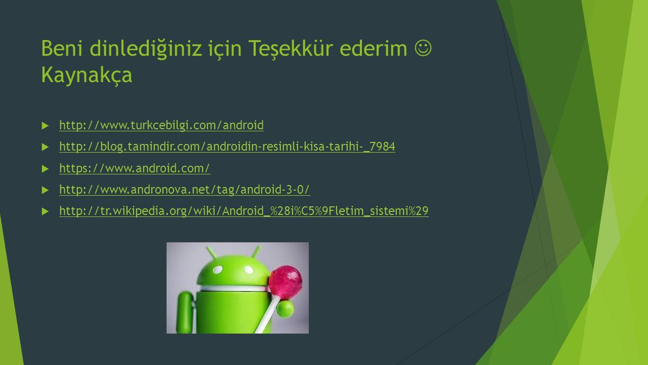 Beni dinlediğiniz için Teşekkür ederim Kaynakça  http://www.turkcebilgi.com/android http://www.turkcebilgi.com/android  http://blog.tamindir.com/androidin-resimli-kisa-tarihi-_7984 http://blog.tamindir.com/androidin-resimli-kisa-tarihi-_7984  https://www.android.com/ https://www.android.com/  http://www.andronova.net/tag/android-3-0/ http://www.andronova.net/tag/android-3-0/  http://tr.wikipedia.org/wiki/Android_%28i%C5%9Fletim_sistemi%29 http://tr.wikipedia.org/wiki/Android_%28i%C5%9Fletim_sistemi%29