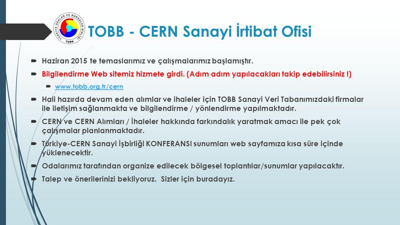 1.CERN Firma Veritabanı 2.CERN Alım Kıstasları  CERN Store  <1.000 CHF  1.000-5.000 CHF  5.000-10.000 CHF  10.000-50.000 CHF  50.000-200.000 CHF  200.000 ve Üzeri CHF 3.2013 İhale ve Tedarik Dağılımı (352 Milyon CHF)  <10.000 CHF ~ %12  10.000-200.000 CHF ~ %25  cern@tobb.org.tr (duyuruları almak için iletişim bilgilerinizi verebilirsiniz)cern@tobb.org.tr  200.000 CHF ve üzeri ~ %63  https://found.cern.ch/java-ext/found/CFTSearch.dohttps://found.cern.ch/java-ext/found/CFTSearch.do Departmanlar - Satınalma Bölümü kontrol ve takip.