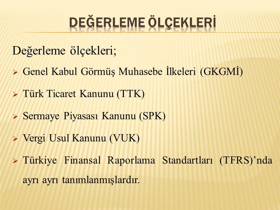 Değerleme ölçekleri;  Genel Kabul Görmüş Muhasebe İlkeleri (GKGMİ)  Türk Ticaret Kanunu (TTK)  Sermaye Piyasası Kanunu (SPK)  Vergi Usul Kanunu (V