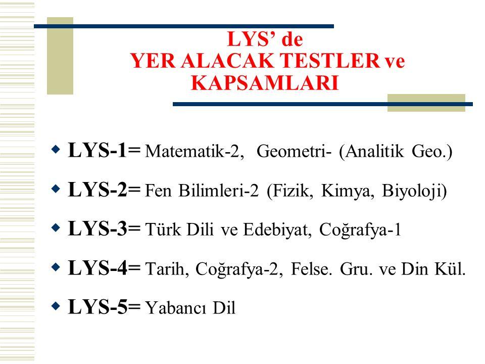 LYS - 1 (MATEMATİK-GEOEMETRİ) 50 Matematik + 30 Geometri - 50 Matematik sorusuna 75 dakika - 30 Geometri sorusuna 60 dakika Toplam 80 soruya 135 dakika süre verilecek.