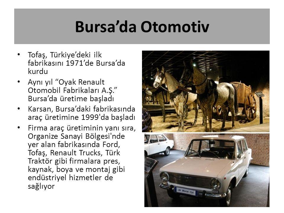 """Bursa'da Otomotiv Tofaş, Türkiye'deki ilk fabrikasını 1971'de Bursa'da kurdu Aynı yıl """"Oyak Renault Otomobil Fabrikaları A.Ş."""" Bursa'da üretime başlad"""