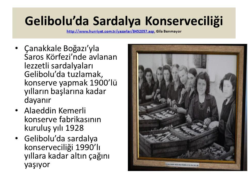 Gelibolu'da Sardalya Konserveciliği http://www.hurriyet.com.tr/yazarlar/8452057.asp, Gila Benmayor http://www.hurriyet.com.tr/yazarlar/8452057.asp Çan