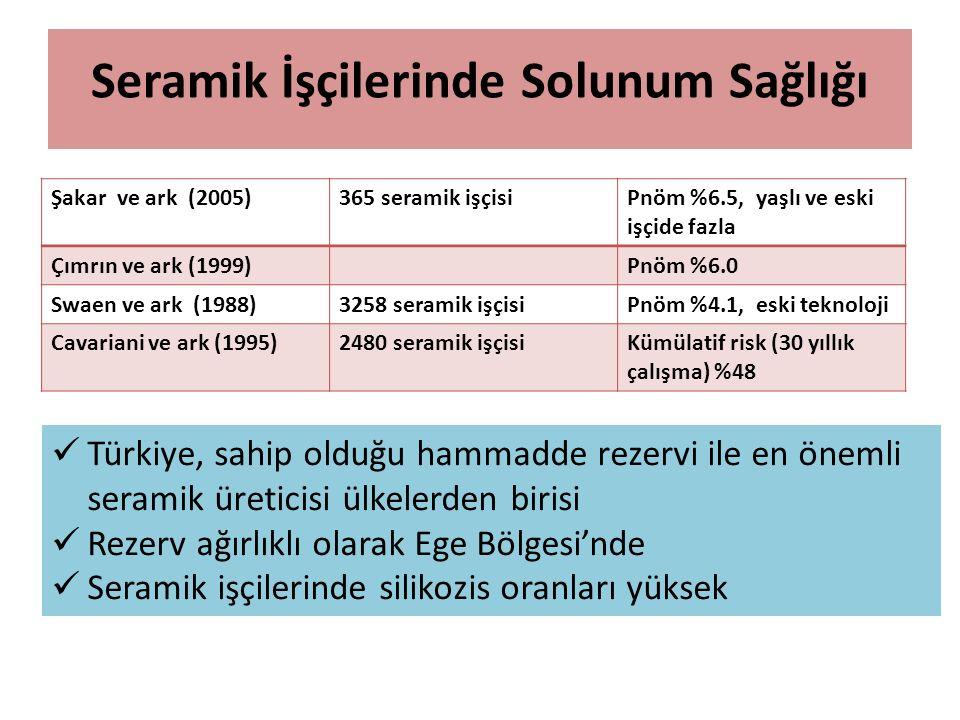 Seramik İşçilerinde Solunum Sağlığı Şakar ve ark (2005)365 seramik işçisiPnöm %6.5, yaşlı ve eski işçide fazla Çımrın ve ark (1999)Pnöm %6.0 Swaen ve