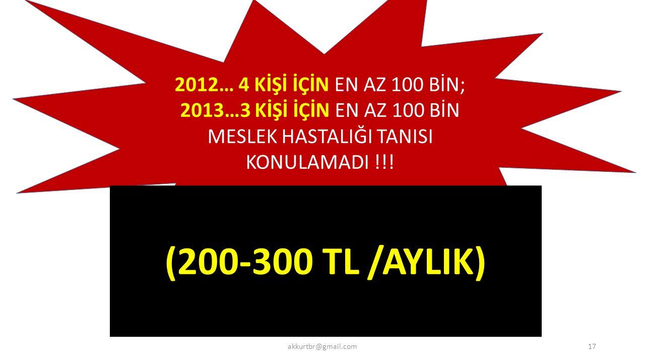2012… 4 KİŞİ İÇİN EN AZ 100 BİN; 2013…3 KİŞİ İÇİN EN AZ 100 BİN MESLEK HASTALIĞI TANISI KONULAMADI !!.