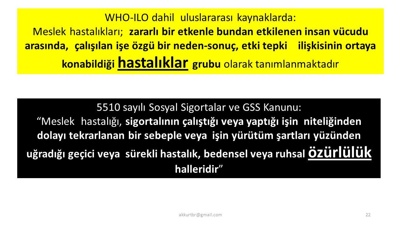 5510 sayılı Sosyal Sigortalar ve GSS Kanunu: Meslek hastalığı, sigortalının çalıştığı veya yaptığı işin niteliğinden dolayı tekrarlanan bir sebeple veya işin yürütüm şartları yüzünden uğradığı geçici veya sürekli hastalık, bedensel veya ruhsal özürlülük halleridir WHO-ILO dahil uluslararası kaynaklarda: Meslek hastalıkları; zararlı bir etkenle bundan etkilenen insan vücudu arasında, çalışılan işe özgü bir neden-sonuç, etki tepki ilişkisinin ortaya konabildiği hastalıklar grubu olarak tanımlanmaktadır akkurtbr@gmail.com22