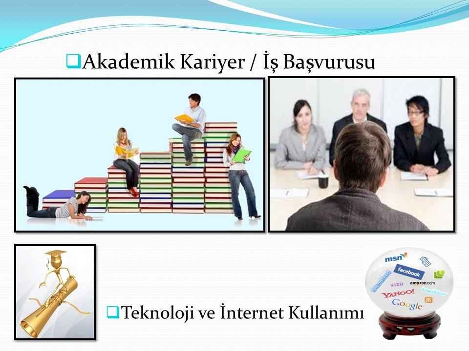  Akademik Kariyer / İş Başvurusu  Teknoloji ve İnternet Kullanımı