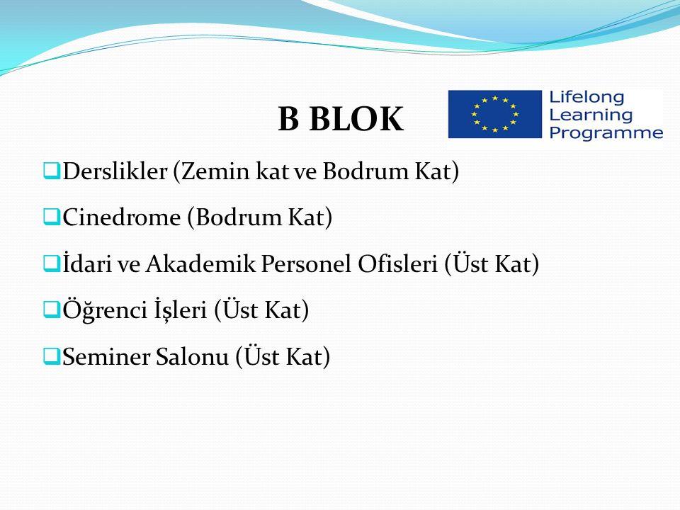 B BLOK  Derslikler (Zemin kat ve Bodrum Kat)  Cinedrome (Bodrum Kat)  İdari ve Akademik Personel Ofisleri (Üst Kat)  Öğrenci İşleri (Üst Kat)  Seminer Salonu (Üst Kat)