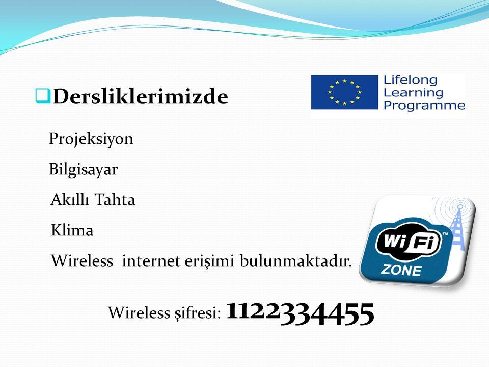  Dersliklerimizde Projeksiyon Bilgisayar Akıllı Tahta Klima Wireless internet erişimi bulunmaktadır.