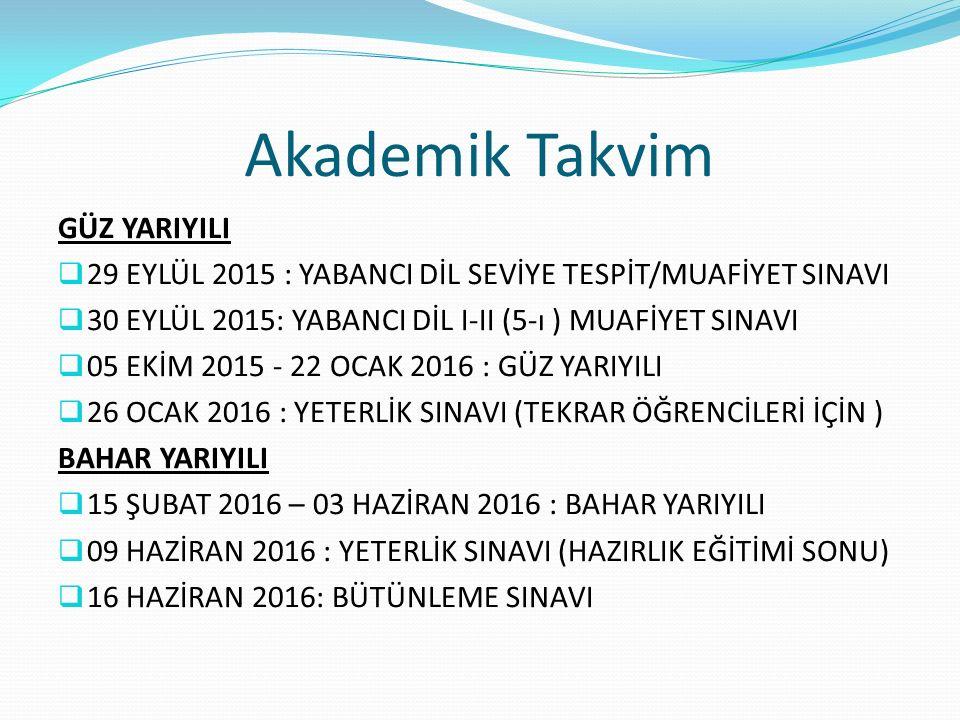 Akademik Takvim GÜZ YARIYILI  29 EYLÜL 2015 : YABANCI DİL SEVİYE TESPİT/MUAFİYET SINAVI  30 EYLÜL 2015: YABANCI DİL I-II (5-ı ) MUAFİYET SINAVI  05 EKİM 2015 - 22 OCAK 2016 : GÜZ YARIYILI  26 OCAK 2016 : YETERLİK SINAVI (TEKRAR ÖĞRENCİLERİ İÇİN ) BAHAR YARIYILI  15 ŞUBAT 2016 – 03 HAZİRAN 2016 : BAHAR YARIYILI  09 HAZİRAN 2016 : YETERLİK SINAVI (HAZIRLIK EĞİTİMİ SONU)  16 HAZİRAN 2016: BÜTÜNLEME SINAVI
