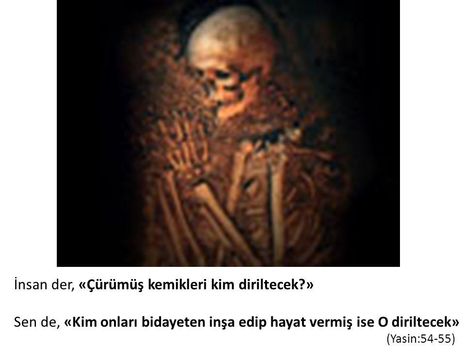 İnsan der, «Çürümüş kemikleri kim diriltecek?» Sen de, «Kim onları bidayeten inşa edip hayat vermiş ise O diriltecek» (Yasin:54-55)