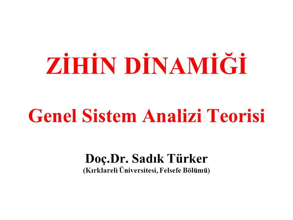 ZİHİN DİNAMİĞİ Genel Sistem Analizi Teorisi Doç.Dr. Sadık Türker (Kırklareli Üniversitesi, Felsefe Bölümü)
