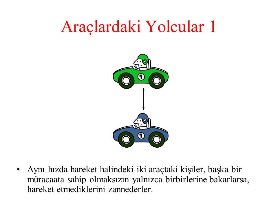 Araçlardaki Yolcular 1 Aynı hızda hareket halindeki iki araçtaki kişiler, başka bir müracaata sahip olmaksızın yalnızca birbirlerine bakarlarsa, hareket etmediklerini zannederler.