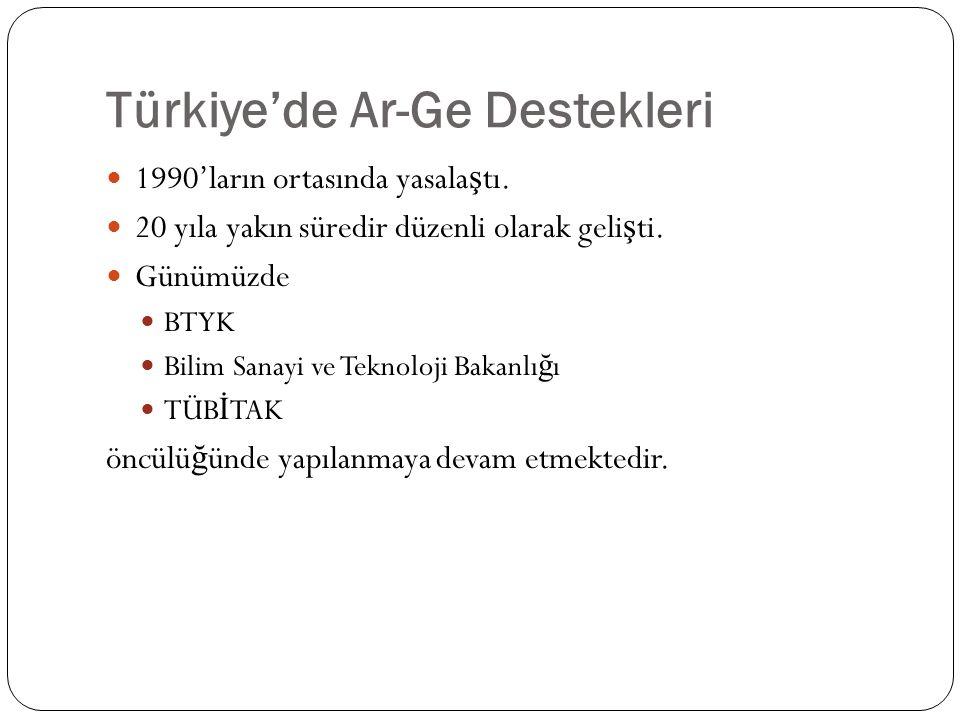 Türkiye'de Ar-Ge Destekleri 1990'ların ortasında yasala ş tı.