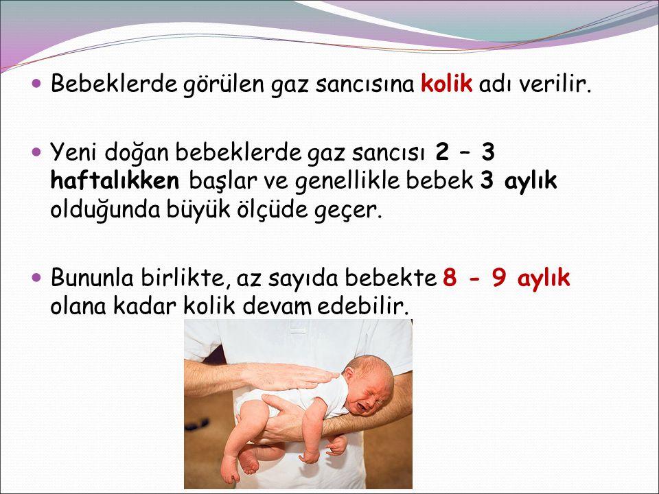 Bebeklerde görülen gaz sancısına kolik adı verilir. Yeni doğan bebeklerde gaz sancısı 2 – 3 haftalıkken başlar ve genellikle bebek 3 aylık olduğunda b