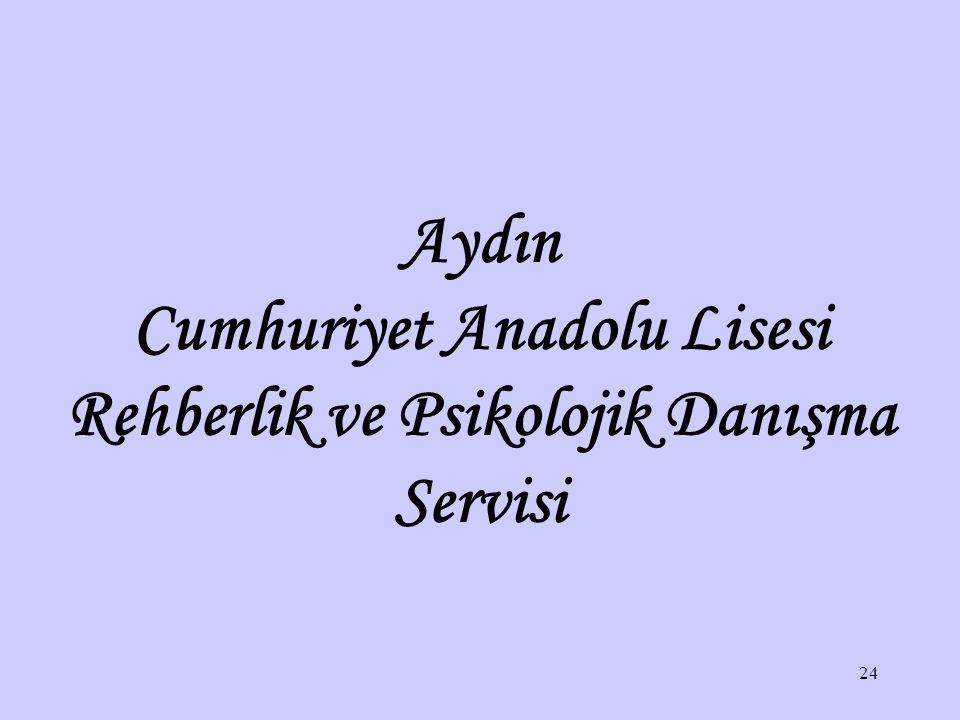 """Aydın Cumhuriyet Anadolu Lisesi Rehberlik ve Psikolojik Danışma Servisi Sorumluluklar yerine getirildikten sonra, sonuç ne olursa olsun """"Olabileceğin"""